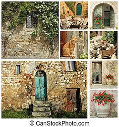 tuscan, 家, 古い, コラージュ, 国, 美しい