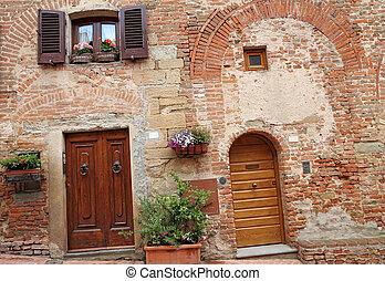 tuscan, 家, 戸口, 絵のよう