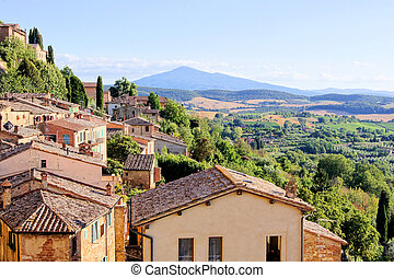 tuscan, aanzicht, italië, dorp