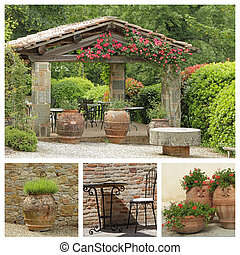 tuscan arbor collage, Italy