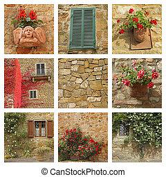 tuscan, casa, fachada, colagem