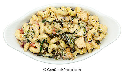 Tuscan Chicken Pasta in Whte Ceramic Bowl - Above view of...