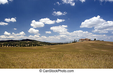 Tuscan farmhouse south of Sienna in Italy