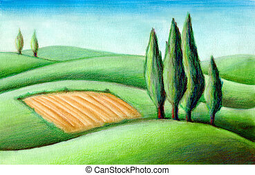 Tuscan hills - Country landscape. Typical tuscan hills in...