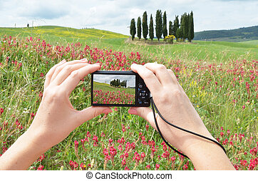 Tuscan ladscape on the screen of a camera