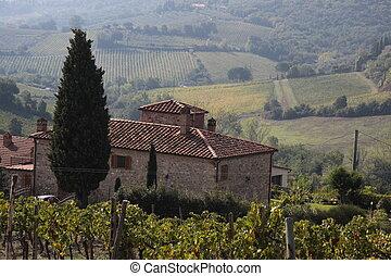 tuscan, land, gimignano, san, haus