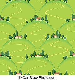 tuscan, land, landskap, kulle, hus