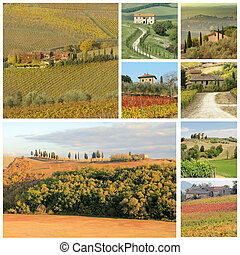 tuscan landscape collage with country houses, Tuscany, Italy...