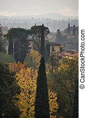 tuscan, landscape, italië