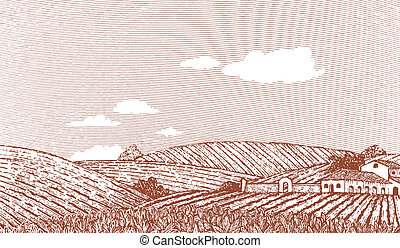 Tuscan Landscape Scene - Woodcut style illustration of an...