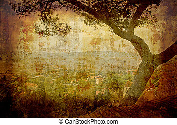 Tuscan landscape - Artistic work of my own in retro style -...