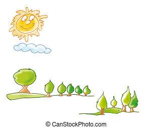 Tuscan landscape, sun, trees