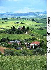 tuscan, landschaft., italien, typisch
