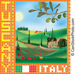 Tuscan mosaic 1 - Tuscan landscape with traditional...