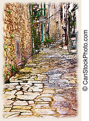 tuscan old town - sketch of urban street in old town,...