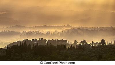 tuscan, paisagem, em, a, começo matutino