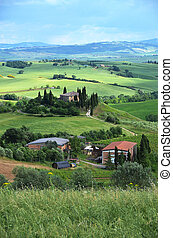 tuscan, paisagem, Itália, típico