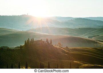 tuscan, panorâmico, típico, paisagem, vista