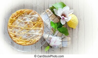 Tuscan Ricotta Cake - Slice of cake with ricotta, shortbread...