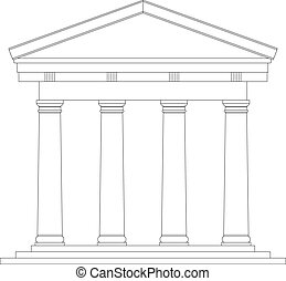 Tuscan Roman temple on white background.