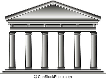 Tuscan temple isolated on white background.