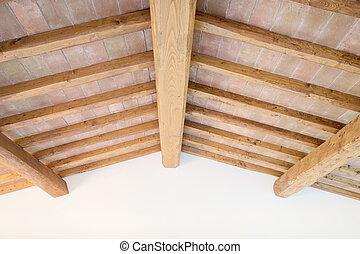 Tuscan traditional wood beam ceiling, red bricks, wall....