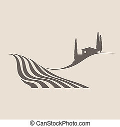 Tuscanian Landscape - stylized vector illustration of a...