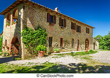 tuscany, 시골, 집, 에서, 여름, 이탈리아