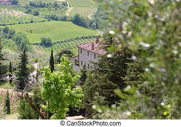 Tuscany - A view across the Tuscan hills Italy