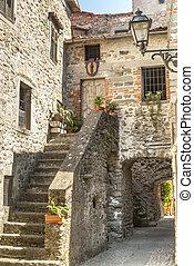 (tuscany), antiguo, -, filetto, aldea