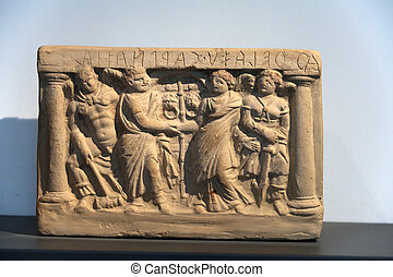 tuscany., antiguo, sarcófago, etruscan, pintado, terracota, ...