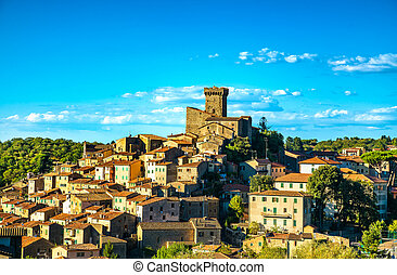 Tuscany, Arcidosso medieval village and tower. Monte Amiata, Grosseto, Italy