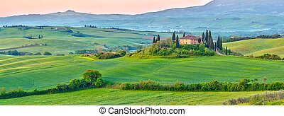 Tuscany at spring - Beautiful Tuscany landscape at early...