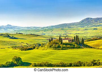 Tuscany at spring - Beautiful landscape in Tuscany, Italy