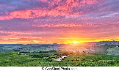 Tuscany at sunrise - Beautiful Tuscany landscape at sunrise,...