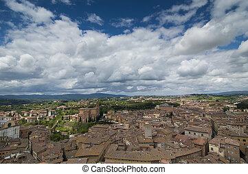 Tuscany city - An aerial view of a tuscany city