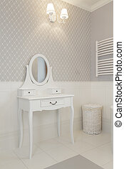 Tuscany - white dressing table in bathroom