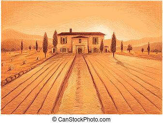 Tuscany Farm - Tuscany was drawn in Vectorprogram. No...