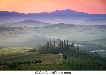 Tuscany Farmhouse Belvedere at dawn, San Quirico d'Orcia,...
