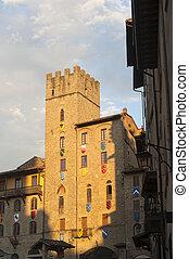(tuscany, gebäude, italy), mittelalterlich, arezzo