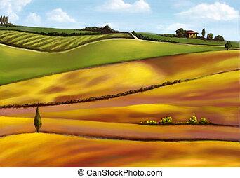 Farmland in Tuscany, Italy. Original mixed media illustration.