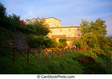 Tuscany house at sunrise