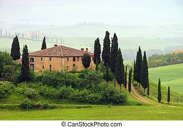Tuscany house in fog