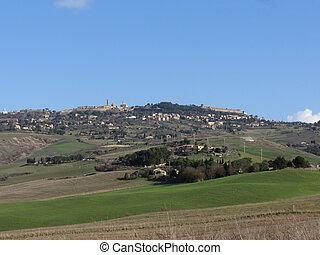 tuscany, inverno cênico, vista, paisagem, típico