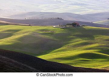 Tuscany landscape at sunrise. Tuscan farm house, vineyard, green hills.