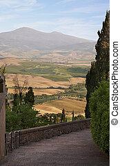 Tuscany Landscape. Suburbs of Pienza city, Italy