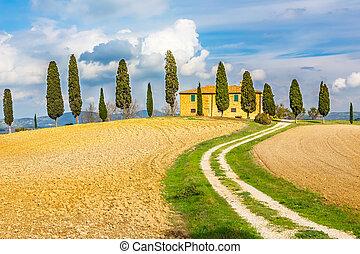Tuscany landscape - Tuscany autumn landscape, Italy