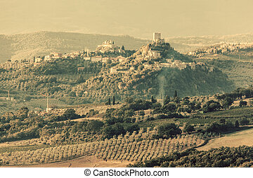 Tuscany landscape with ancient castle, vineyard and green hills, Italy. Vintage