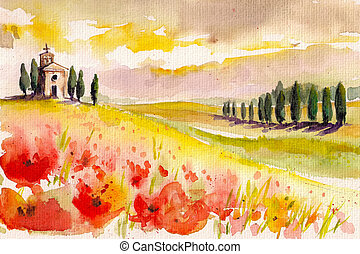 Tuscany - Landscape with cypress trees ,poppies and small...