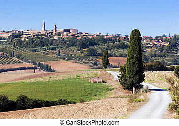 Tuscany landscape with Pienza town on the hill, Italy.